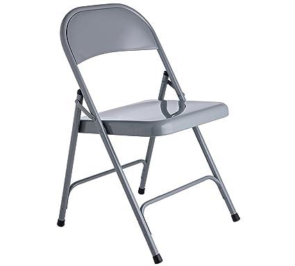 Hábitat macadán silla plegable de metal gris: Amazon.es: Hogar
