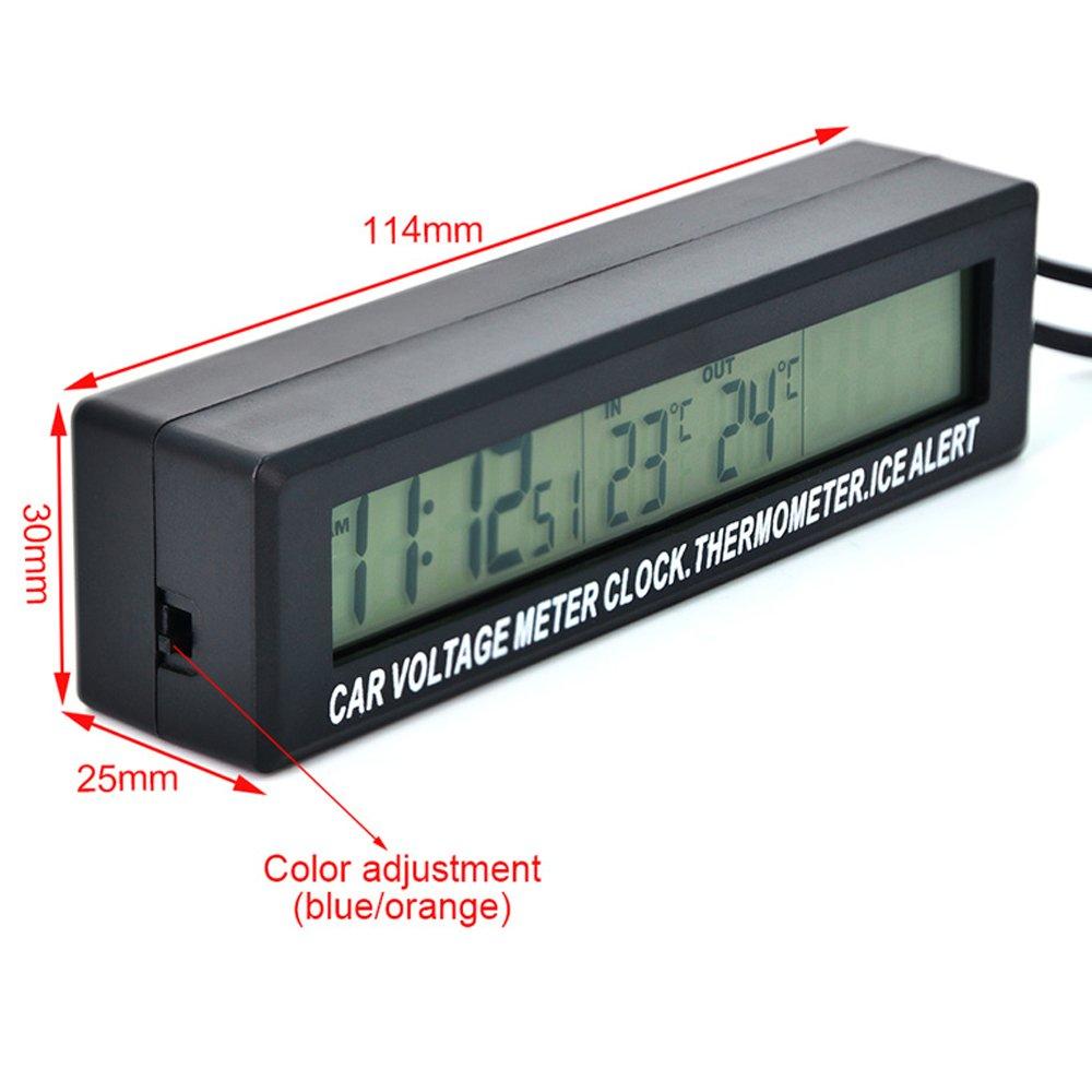 PolarLander 3-in-1-Auto-Digital-LCD-Anzeige Uhr Volt Thermometer Durable Batteriespannung Temperaturmonitor Meter