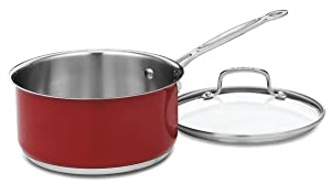Cuisinart CS193-20MR Chef's Classic Stainless 3-Quart Saucepan with Cover, Metallic Red
