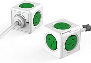 Allocacoc POWERCUBE Extended Green-5 Outlets- 1.5m Cable, 5300GN/AUEXPC