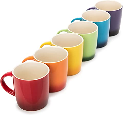 colorful stoneware coffee cups