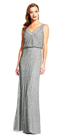b6aa441e6f Image Unavailable. Image not available for. Color  Adrianna Papell  Sleeveless Raindrop Beaded Blouson Gown ...