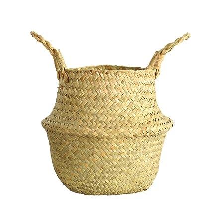 437f05bdfae7 Seagrass Wicker Folding Plant Flower Basket Flower Pots Outdoor Indoor for  Home Garden Wall and Wedding Decoration (Beige)