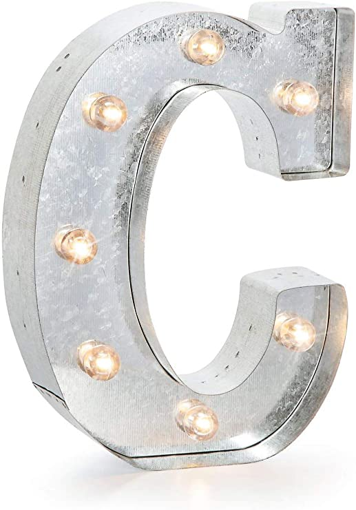 """Darice 5915-704 Silver Metal Marquee Letter – C-9.87"""" Tall, Galvanized Finish"""