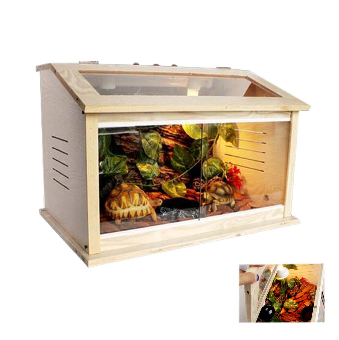 CJN Reptile Wooden Container,Lizard Tank,DIY Removes The Bevel,Breathable Window,External Switch,Glass Moving Door,Application Of Amphibiansturtle Lizard Snake,80  40  40Cm