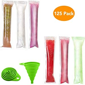 N/E 125 Disposable Ice Pop Molds, Food Grade Popsicle Maker Ice Candy Plastic Bags with Zip Seals, DIY Yogurt Sticks, Juice & Fruit Smoothies, Ice Candy Pops Comes with 1 Funnel