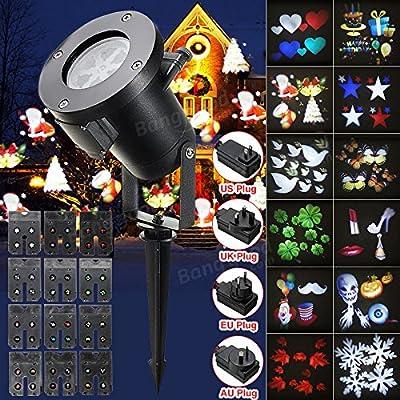 12Pattern Waterproof LED Moving Laser Projector Stage Light Christmas Halloween ( US plug )