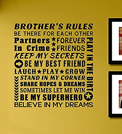 Amazon.com: Brothers Rules Be There for Each Other Partners Forever ...