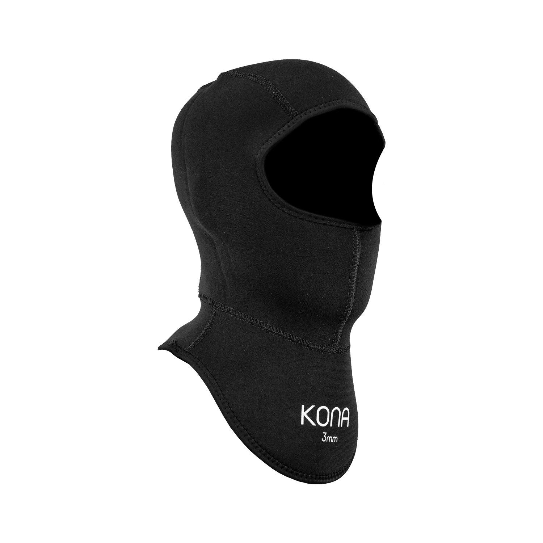 KONA 3mm Premium Neoprene Double-Glued and Blind Stitched Scuba Diving Bib Hood (Large)