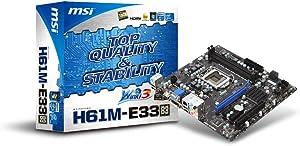 MSI H61M-E33 (B3) LGA1155 Intel H61 B3 DDR3 A&GbE MATX Motherboard