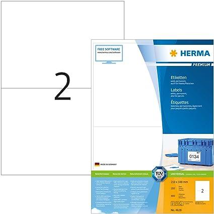Universal Etiketten auf DIN A4 Bogen 210 x 148 mm 200 Klebeetiketten weiß