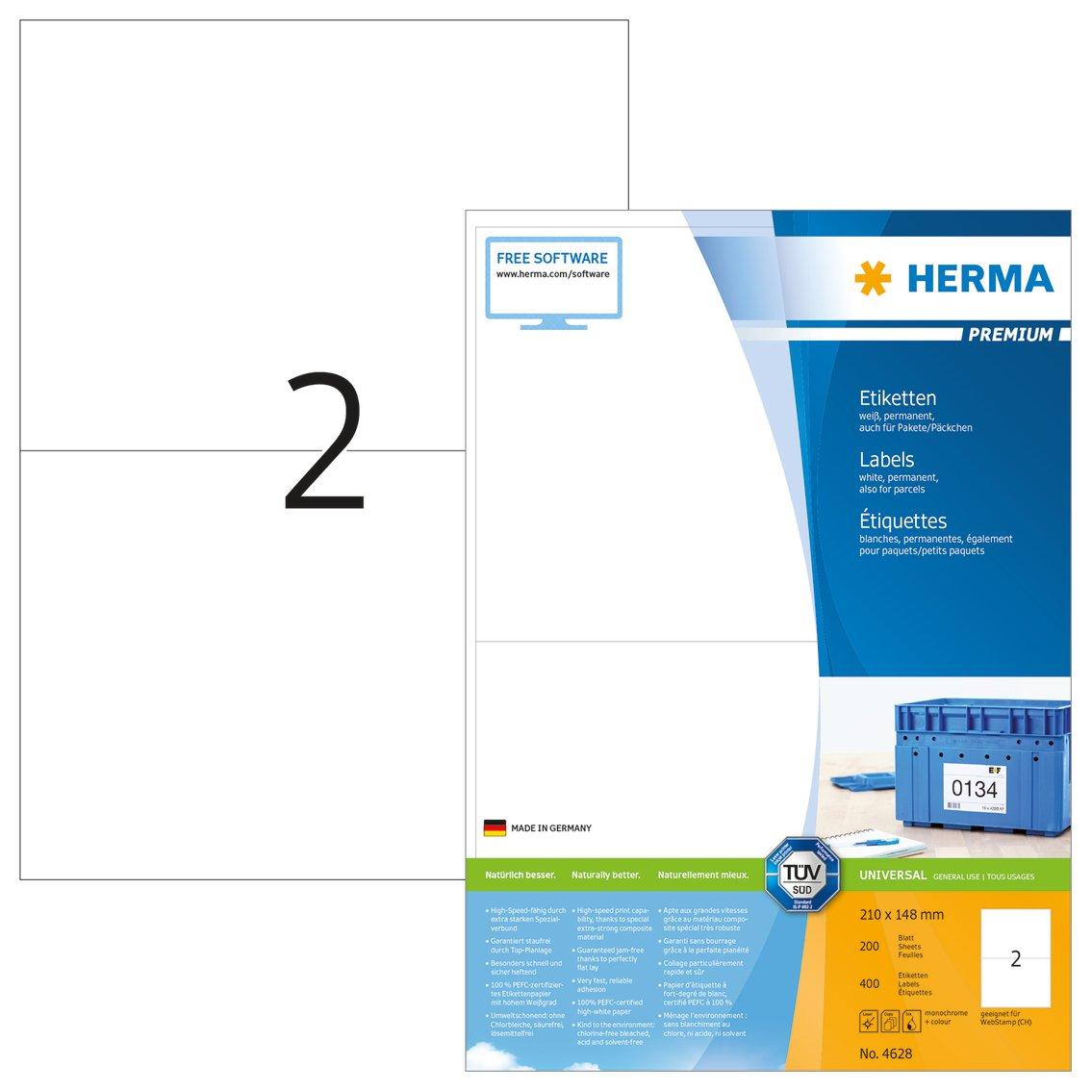 Herma Etichetta Super Adesiva 210 x 148 A4, 50 Pezzi, Bianco 10910