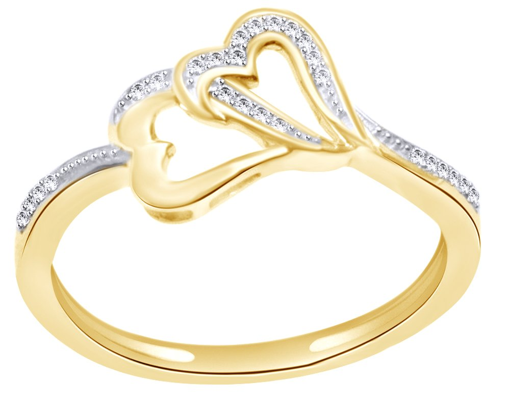 White Natural Diamond Accent Double Heart Ring in 14k Solid Yellow Gold (0.1 Cttw) Ring Size - 11