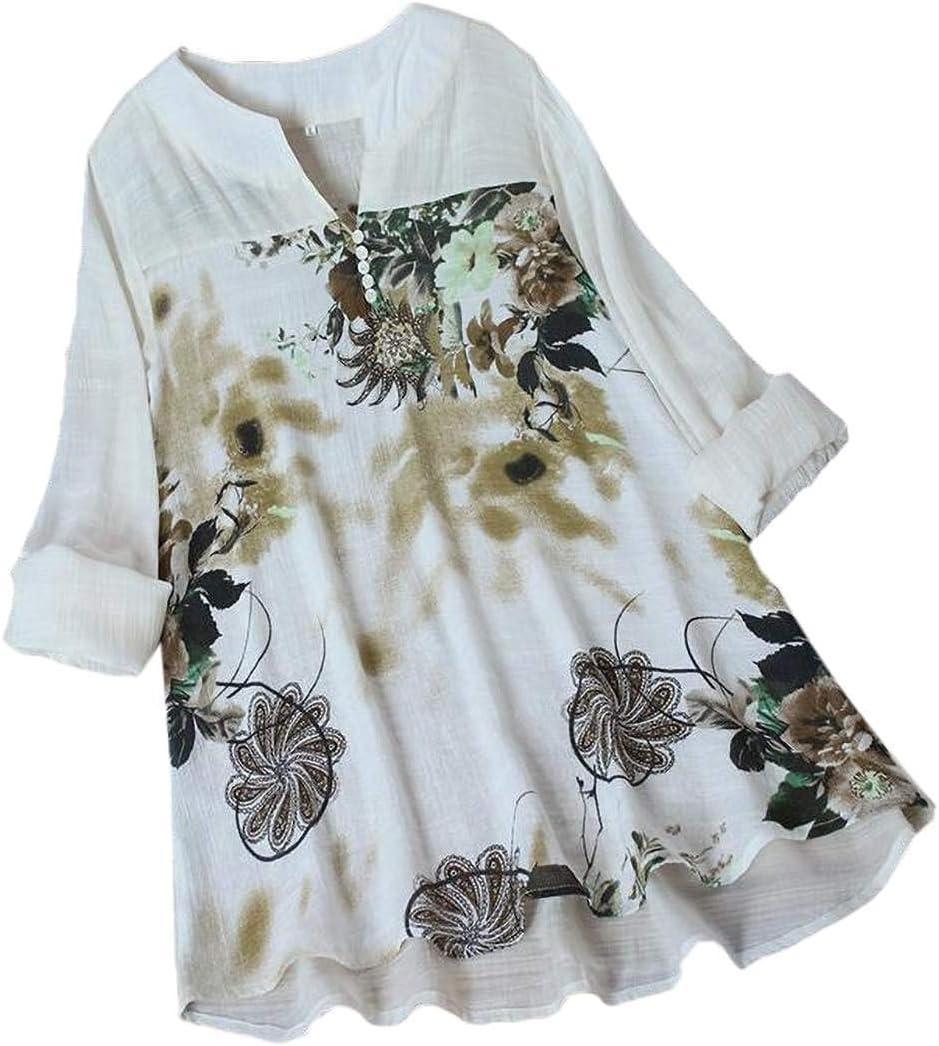 أبيكوك المرأة طباعة تونك توب كم طويل قطن كتان خياطة بلوزة قمصان