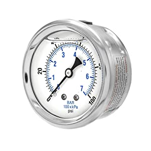 "PIC Gauge PRO-202L-254E Glycerin Filled Industrial Center Back Mount Pressure Gauge with Stainless Steel Case, Brass Internals, Plastic Lens, 2-1/2"" Dial Size, 1/4"" Male NPT, 0/100 psi"