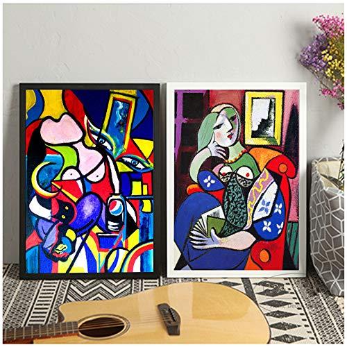 YCCYI Sin Marco Picasso Mujeres Lienzo Abstracto Arte impresion Pintura Cartel Cuadros de Pared para Sala de Estar decoracion del Dormitorio Decorativo 8x 12 (20x30cm) x2