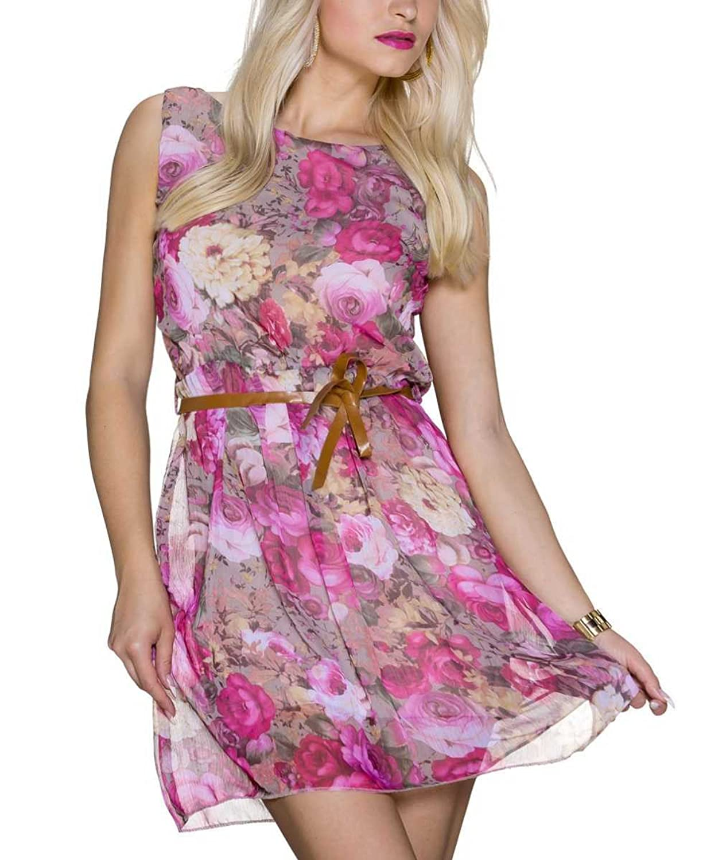 Chiffon Sommerkleid mit Blumen, Pink, Größe:34/36