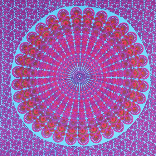 LOUDelephant Mandala Impresión viscosa rayón sarong Turquoise & Purple
