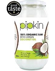 Pipkin 100% Organic Coconut Oil 1L, Cold Pressed Raw Pure Extra Virgin, Multi-Purpose, Non-GMO, For Hair/Skin/Body Moisturiser, Edible, Gluten Free, Vegetarian, Vegan and Paleo Friendly