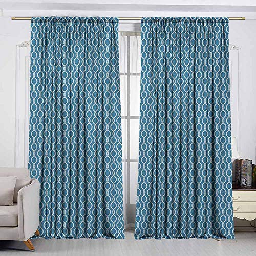 VIVIDX Rod Pocket Window Curtain,Nautical,Sailor Knot Pattern with Marine Inspirations Naval Motifs Braided Rope Design,Decor Thermal/Room Darkening Window Curtains,W63x72L Inches Blue and -