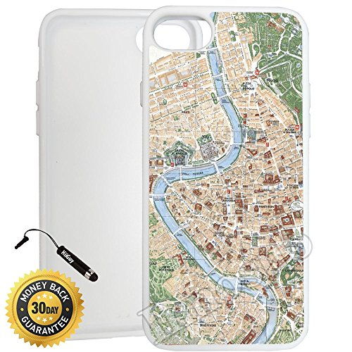 Custom iPhone 7 Case (Vintage Map of Rome) Edge-to-Edge Rubber White Cover with Shock and Scratch Protection | Lightweight, Ultra-Slim | Includes Stylus Pen by (Rome Five Light)