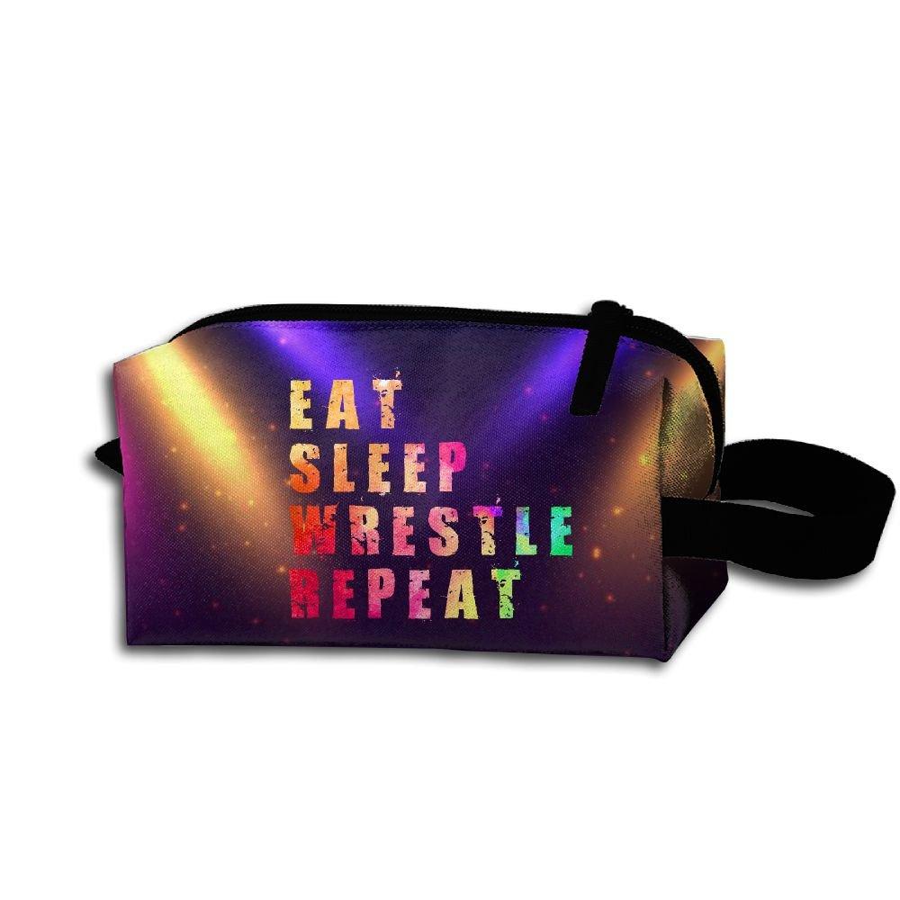 Eat Sleep Wrestling Travel Cosmetic Bag Portable Organizer Multifuncition Handbag
