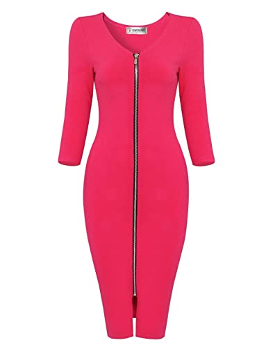 Tom's Ware Womens Sophisticated Front Zipper Long Sleeve Bodycon Midi Dress