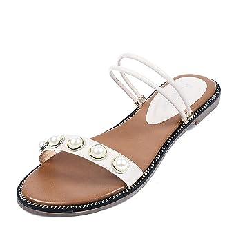 Frauen Hausschuhe Sommer Student Sandalen Mode Perle Sandalen Outdoor Große Größe Schuhe Sandalen (Schwarz Weiß) ( Color : Black , Größe : 38 )