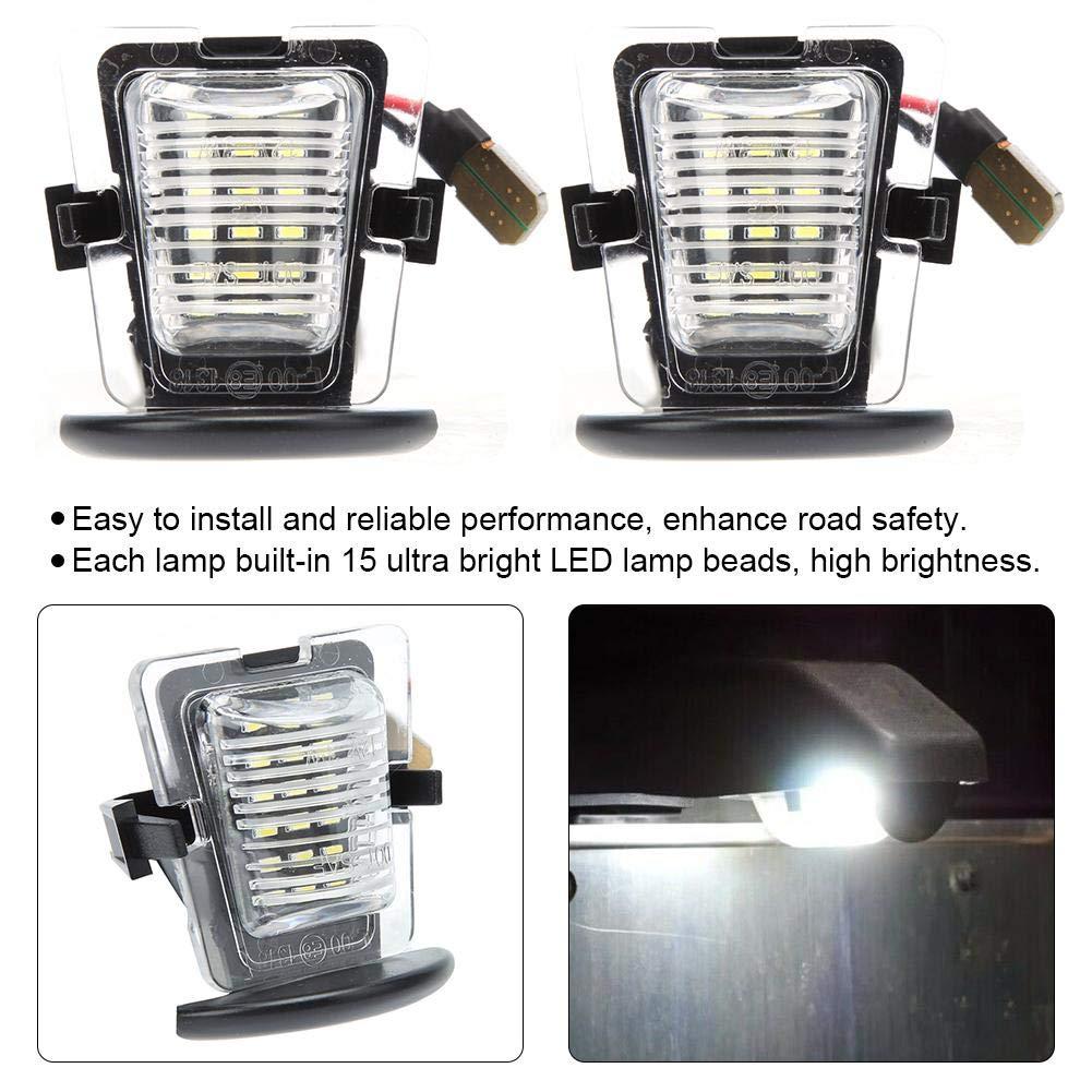 Luz de matr/ícula DC12V Akozon Un par de 15 LED 6000K Luz de la placa de matr/ícula apta para Wrangler JK 2007-2018