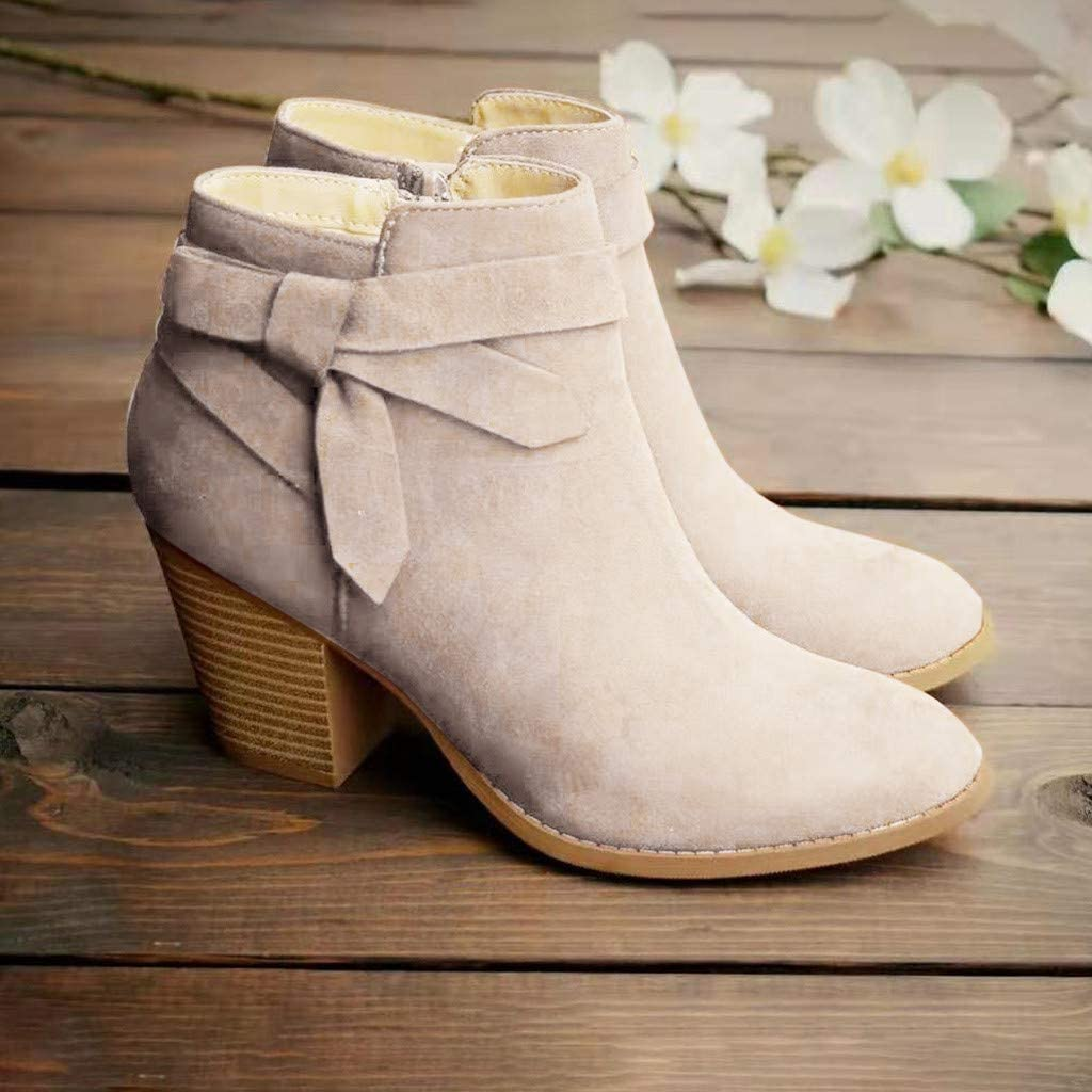 Xinantime Womens Winter Short Boots Casual Round Toe Zipper Square Heels Boots Solid Bowknot Ankle Boots
