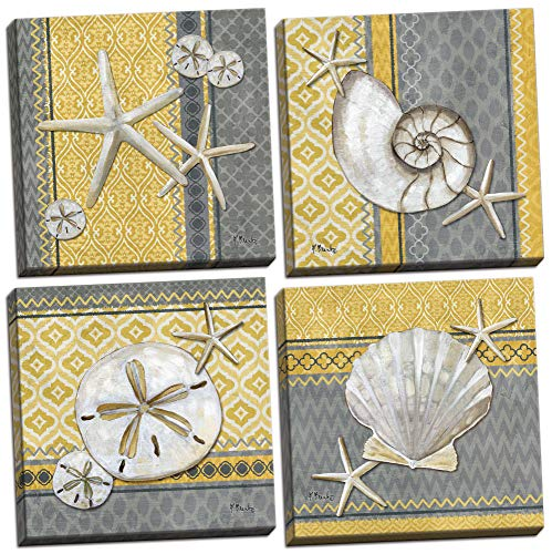 4 Lovely Grey and Yellow Ocean Seashell Sand Dollar and Star Fish Poster Prints with an Ikat Background; Nautical Decor, Four 12 by 12-Inch Canvases; Ready to ()