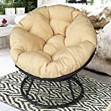ART TO REAL Deluxe 360 Swivel Papasan Chair with Soft Cushion, Outdoor Patio Swivel Glider Rocking Lounge Chair, Deep Seating Moon Chair, Solid Twill Fabric Khaki Cushion