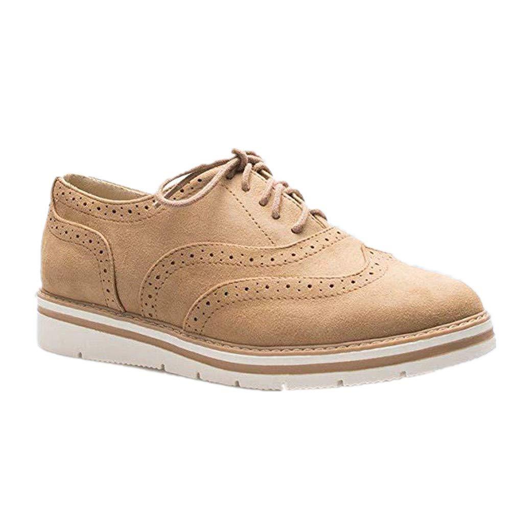 d78e7d3b4 Zapatos Planos con Cordones Mujer Brogue Zapato Talón Plano Gamuza Colores  Manera Tallas Grandes Botas Negro Rosa Gris Azul Marrón 35-43