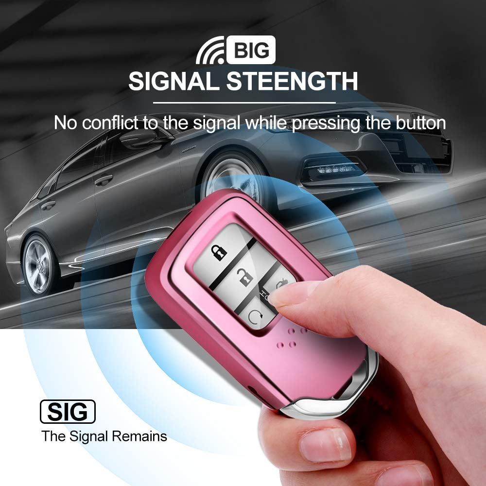 for Smart Honda Soft Key Cover ,Case Keyless Protect The Honda Keychain/ from Scratches Lightweight and Durable for 2018 2017 2016 2015 Honda Accord Civic CR-V CRV Pink
