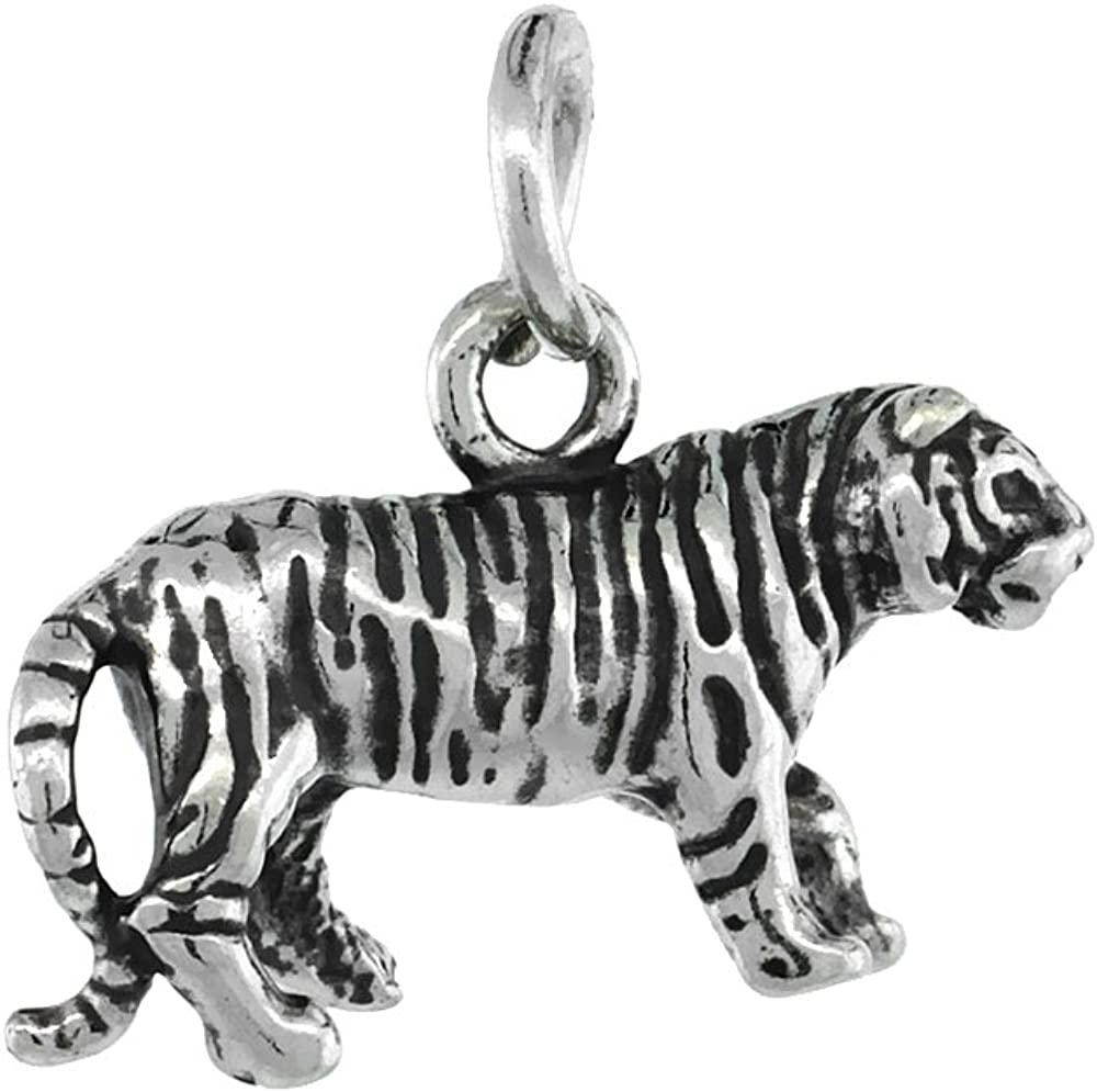 Beautiful Sterling silver 925 sterling Sterling Silver Antiqued Tiger Charm