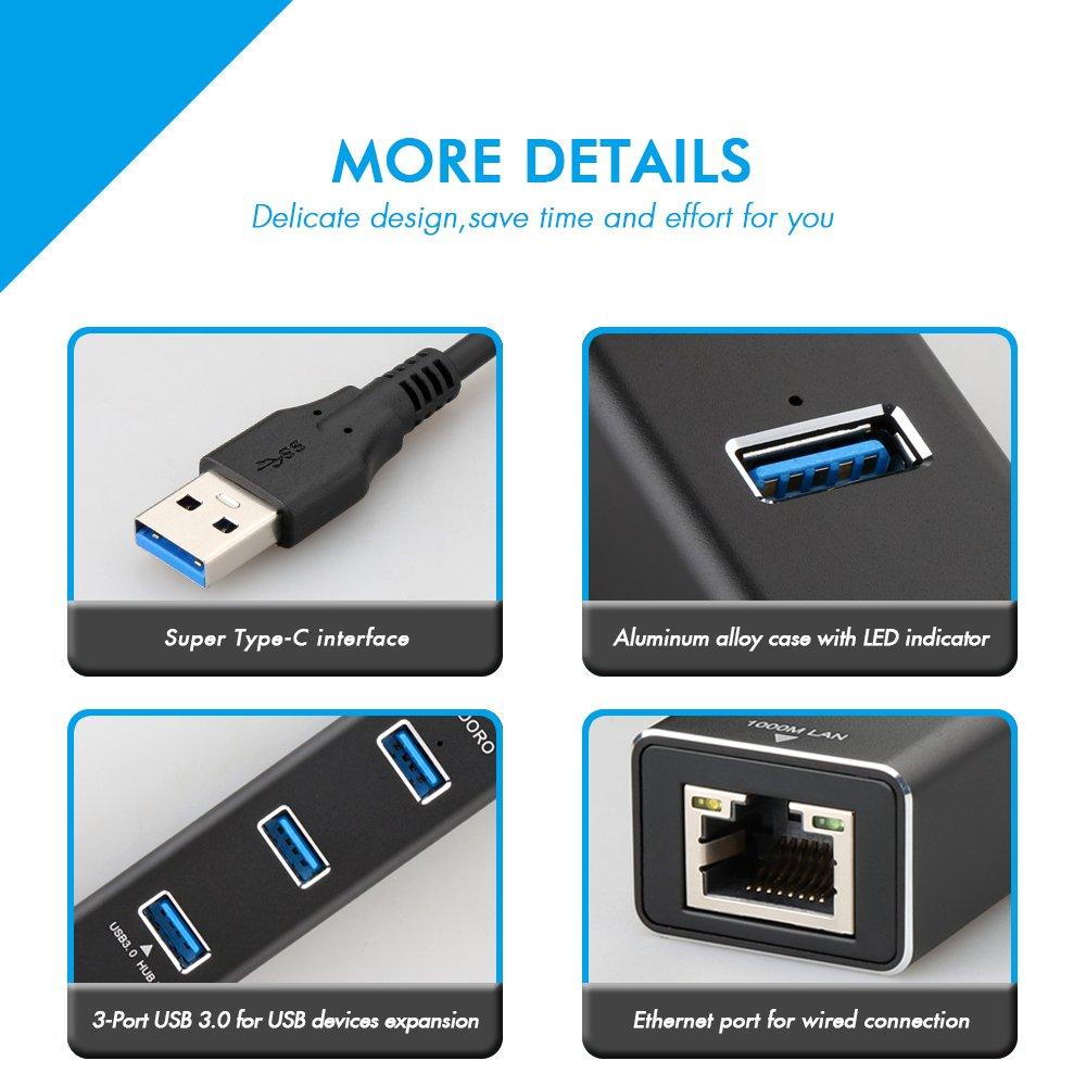 Amazon.com: DODORO 3-Port USB 3.0 Portable USB Hub with RJ45 Gigabit ...