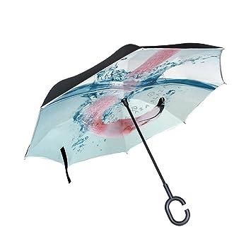 jstel doble capa puede Flamingo jugar el agua paraguas coches Reverse resistente al viento lluvia paraguas