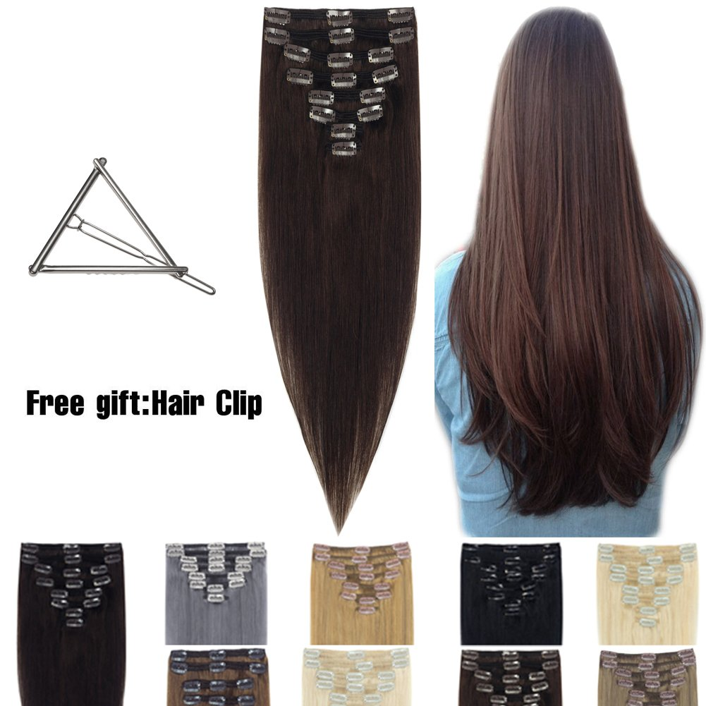 Human Hair Extensions Clip in 16''-22'' 8pcs Full Head Long Soft Silky Straight Wig