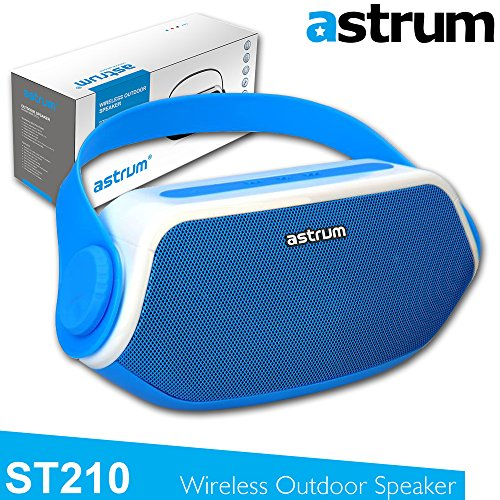 (Astrum ST210 Portable Outdoor Wireless Bluetooth Speaker - HD Sound w Built-in Mic, FM Radio, Torchlight, Power Bank for Apple iPhone, iPad, Samsung, LG, Sony, Other Bluetooth Enabled Devices - Blue)