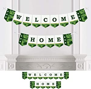Big Dot of Happiness Welcome Home Hero - Military Army Homecoming Bunting Banner - Party Decorations - Welcome Home
