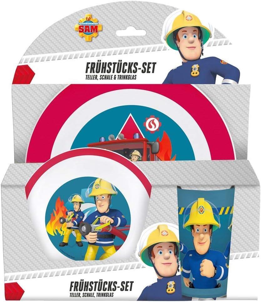 p:os e53359 Juego de desayuno (3 piezas: plato, bol y vaso), diseño de Sam el bombero, carbón