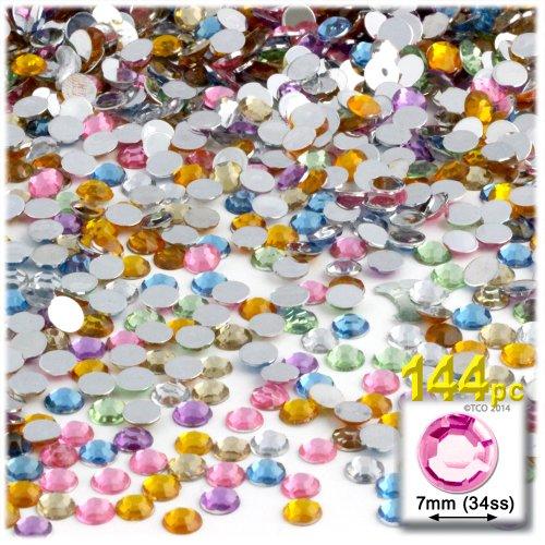 The Crafts Outlet 144-Piece Round Rhinestones, 7mm, Pastel ()