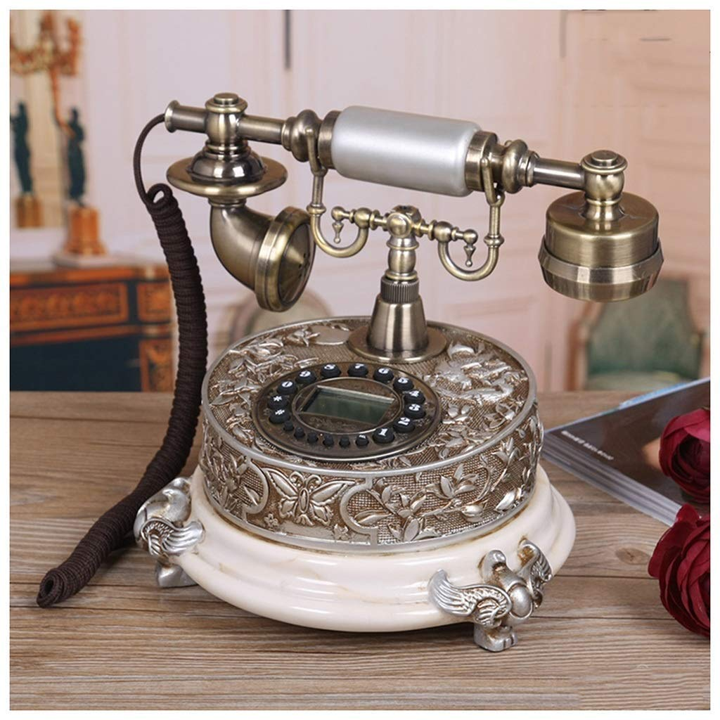 Telephones European Brown White Backlight Hands-Free Antique Telephone Home European Alarm Fixed Phone Fashion Landline Resin Body Retro Phone (Color : 2, Size : A)