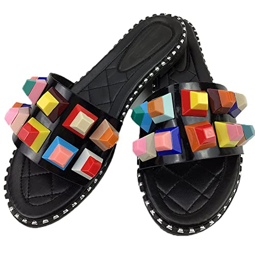 56bc23d72f7 Lopatina Women Slide Colorful Rivets Shoes Leather Fancy Flat Open Toe  Outdoor Sandals (4.5