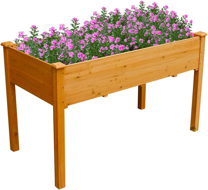 """Raised Garden Bed Elevated Wood Planter Box Outdoor Raised Wooden Planter Garden Grow Box Kit with Legs for Vegetable Flower Herb Gardening Backyard Patio Natural (48"""" L x 24"""" W x 30"""" H, Rustic Gold)"""