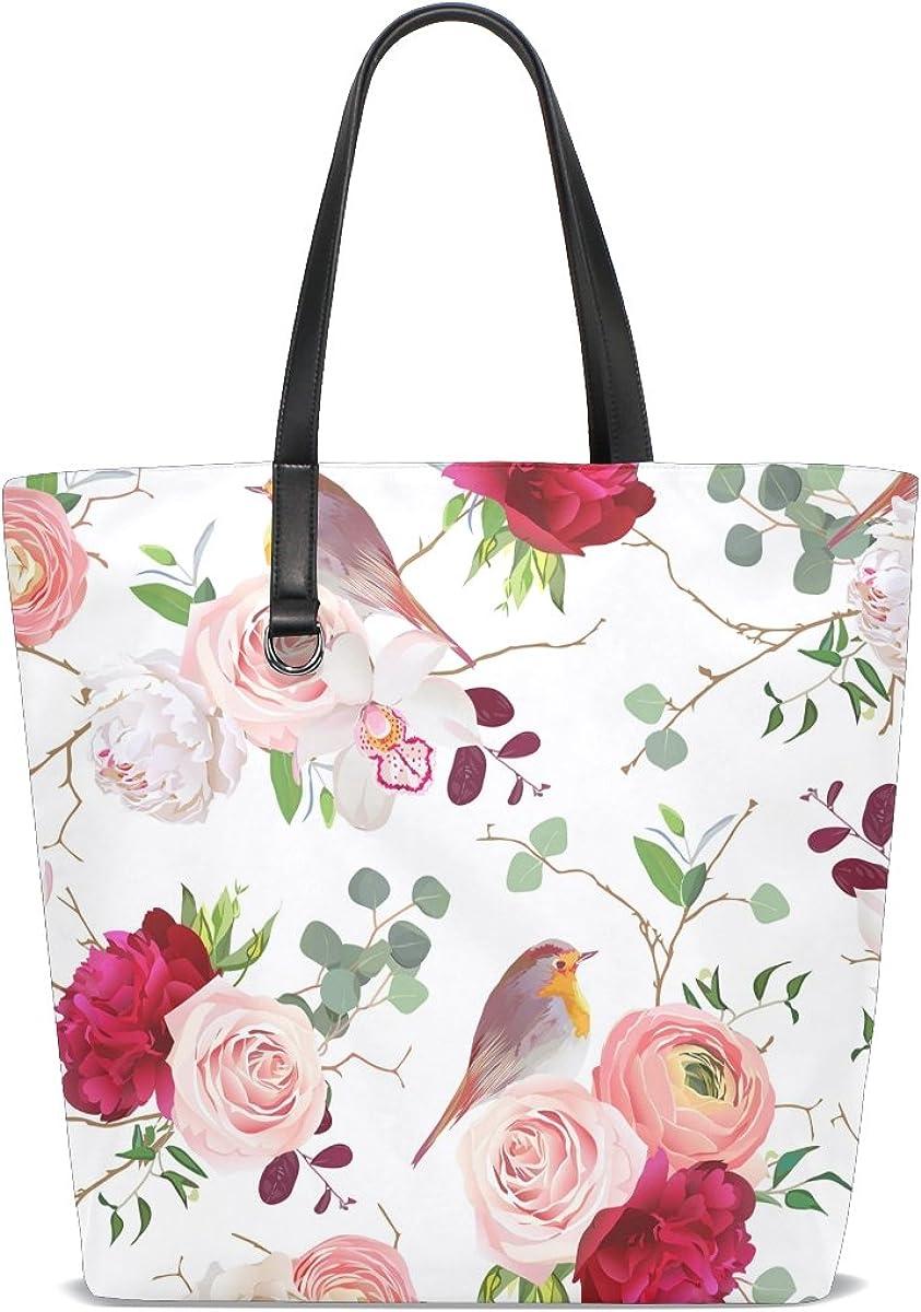 Womens Leather White Peony Handbag Satchel Tote Bag Tote Purse