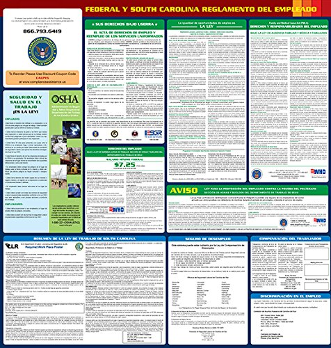 "Compliance Assistance: South Carolina - 2018 - All In One State and Federal Spanish- Up to Date 2018 Ready, 24""x 27.5"", Thick Durable Lamination, Compact, OSHA State & Federal Compliant"