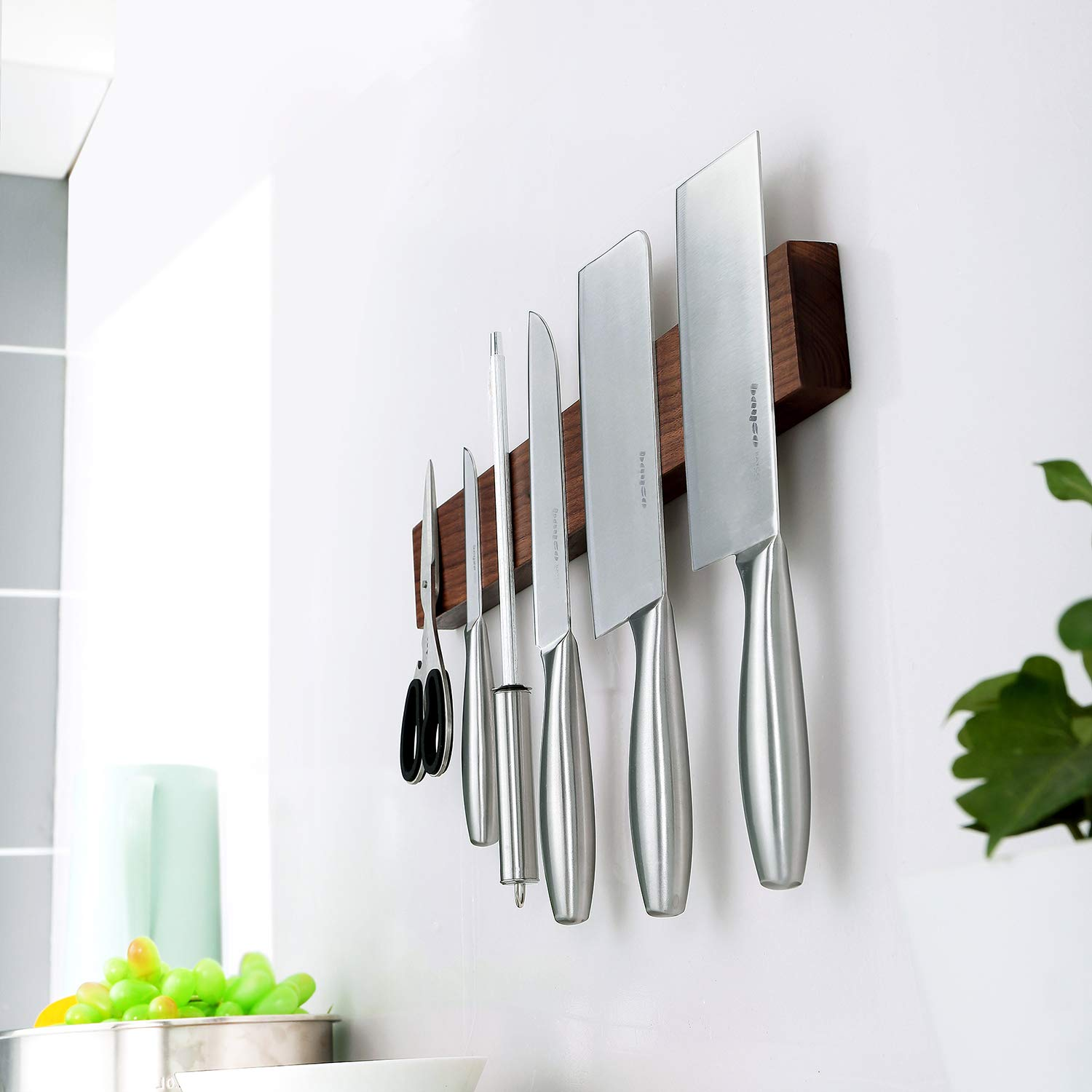 Walnut Magnetic Knife Holder 18 Inch - Wall Mount Wooden Knife Strip, Rack, Bar With Double Row Powerful Magnets, Space-Saving Utensil Organizer by KitchenShark (Image #7)