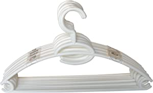 Home Basics Pack of 10 Tubular Plastic Hanger Concave Sides and Center Accessory Hook for Laundry, Closet Heavy-Duty Slim Space Saving (WHITE, 1)