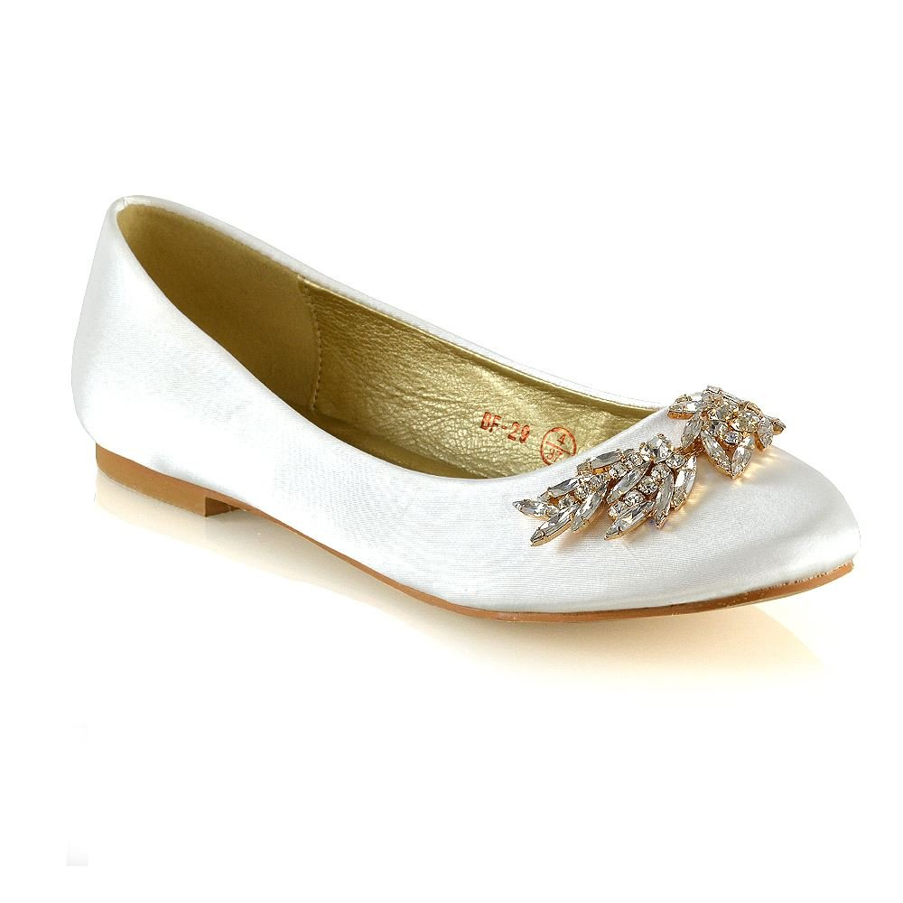 ESSEX GLAM Womens Ballet Flats Ladies Ivory Satin Slip On Diamante Brooch Pumps Shoes 9 B(M) US